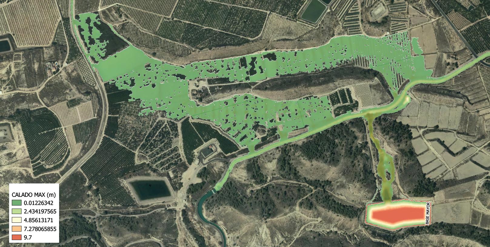 Simulación hidráulica de los calados máximos de agua de la zona potencialmente inundable